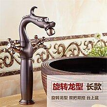 Stazsx Küche Hahn und Badezimmer Hahn Retro Wasserhahn Waschtischarmaturen Basin Mixer Tap,Rotary Long Dragon