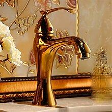 Stazsx Küche Hahn und Badezimmer Hahn Retro Wasserhahn Waschtischarmaturen Basin Mixer Tap,Eine goldene Armatur Modelle