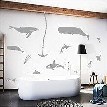 Stazsx Marine tier wandaufkleber licht grauwal wandaufkleber wohnzimmer schlafzimmer korridor wandaufkleber tapete wandmalereien, große