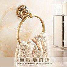 STAZSX Punch antikes Kupfer Handtuch voller Handschuh gefaltet Handtuchhalter Europäischer Retro Metall Anhänger Bad Handtuchring [kostenlos] Punch-Rack