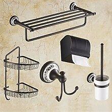 STAZSX Schwarz Bronze Bad-Accessoires All-Suite Continental antike Kupfer Handtuchhalter Bad Handtuchhalter retro Regal, L-Modelle