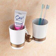 STAZSY Antik Messing Zahnbürste Becher Getränkehalter blau und weiß Porzellan-Bad-Accessoires-Bad-Accessoires Bad, Glas-Bürstenhalter