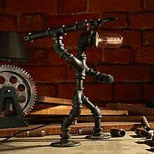Steampunk Stil Wasser Rohr Tischlampe Roboter Design Tischlampe Schlafzimmer Nachttisch Wohnzimmer Tischlampe Eisen Tischlampe, E27, Bronze (Color : Dimmer switch-D)