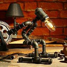 Steampunk Stil Wasser Rohr Tischlampe Roboter Design Tischlampe Schlafzimmer Nachttisch Wohnzimmer Tischlampe Eisen Tischlampe, E27, Bronze (Color : Dimmer switch-C)