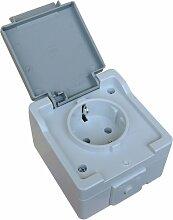 Steckdose 1-fach IP44 Feuchtraum Schukosteckdose spritzwassergeschützt Feuchtraum Aufputz System: STERA