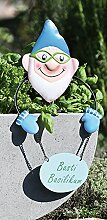 Stecker Blumenfreunde Metall für Pflanztopf Gartendeko Gartenfiguren ( Basti Basilikum)