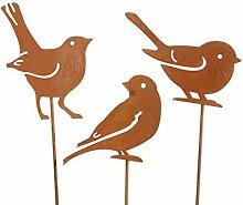 Stecker Vögel 3-er Set aus Metall rostig H 60 cm