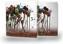 Stecknadeln - Lautlose Wanduhr mit Fotodruck auf Polycarbonat | geräuschlos kein Ticken Fotouhr Bilderuhr Motivuhr Küchenuhr modern hochwertig Quarz | Variante:30 cm x 30 cm mit weißen Zeigern - GERÄUSCHLOS