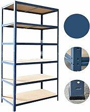 Steckregal 200x80x50 cm blau 6 x 175 kg Böden Regal Schwerlastregal Kellerregal Lagerregal Metallregal Regalsysteme