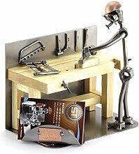 Steelman24 I Schraubenmännchen Tischler mit Visitenkartenhalter I Made in Germany I Handarbeit I Geschenkidee I Stahlfigur I Metallfigur I Metallmännchen