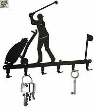 steelprint.de Schlüsselbrett/Hakenleiste * Golfer