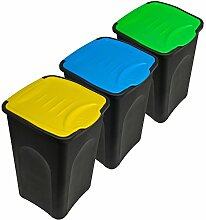 Stefanplast® 3x 50L Set Abfalleimer mit Klappeckel 56 x 37 x 39cm - Mülleimer Papierkorb Abfallbehälter Restmüll Müllbehälter Abfallsammler