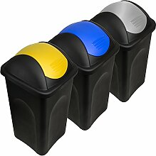 Stefanplast® 3x 60L Set Abfalleimer mit Schwingdeckel 68 x 41 x 41cm - Mülleimer Papierkorb Abfallbehälter Restmüll Müllbehälter Abfallsammler Mülltrennsystem Abfalltrennsystem