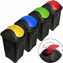 Stefanplast® 4x 60L Set Abfalleimer mit Schwingdeckel 68 x 41 x 41cm - Mülleimer Papierkorb Abfallbehälter Restmüll Müllbehälter Abfallsammler Mülltrennsystem Abfalltrennsystem
