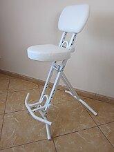 Stehhilfe Stehhocker Stehsitz Sitz Sitzhilfe Stehstütze Weiß ergonomischer 6 cm Polster bis 130 kg belastbar TGB