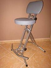 Stehhilfe Stehhocker Stehsitz Sitz Stehstützemit ergonomischer Sitz 6 cm dick im Silber bis130kg belastbar