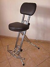 Stehhilfe Stehhocker Stehsitz Sitzhilfe Silber - Braun 6 cm dick ergonomischer Sitz bis130 kg