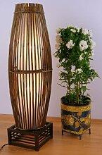 Stehlampe aus Bambus u. Rattan auf Holzgestell, asiatische Designerlampe Wohnzimmerlampe Standlampe