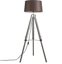 Stehlampe grau mit braunem Leinenschirm 45 cm -