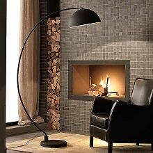 Stehlampe in Schwarz Metall und Goldfarben halbrund