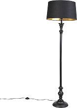 Stehlampe mit Baumwollschirm schwarz mit Gold 45