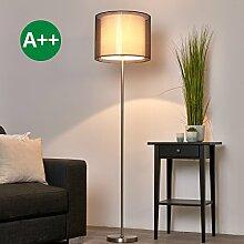 Stehlampe Nica (Modern) in Alu aus Textil u.a. für Wohnzimmer & Esszimmer (1 flammig, E27, A++) von Lampenwelt | Stehleuchte, Wohnzimmerlampe