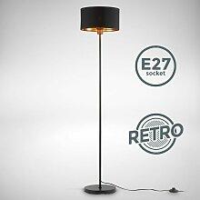Stehlampe schwarz-gold Stoff Stehleuchte E27 Holz