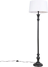 Stehlampe schwarz mit Leinenschirm weiß 45cm -