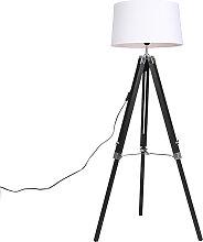 Stehlampe schwarz mit weißem Leinenschirm 45 cm -