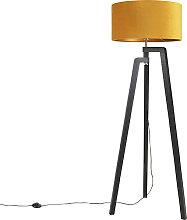 Stehlampe Stativ schwarz mit gelbem Schirm und