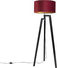 Stehlampe Stativ schwarz mit rotem Schirm und Gold