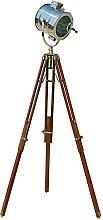 Stehlampe / Strahler mit braunem Holzstativ und