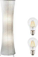 Stehlampe Wohnzimmer Weiß Papier mit LED -