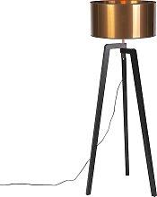 Stehleuchte schwarz mit Kupferschirm 50 cm - Puros