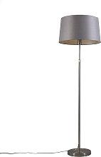 Stehleuchte Stahl mit Lampenschirm grau 45 cm
