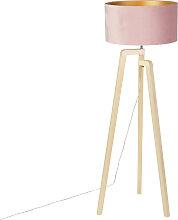 Stehleuchte Stativ Holz mit rosa Veloursschirm 50