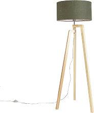 Stehleuchte Stativ Holz mit Schirm 50 cm grün -