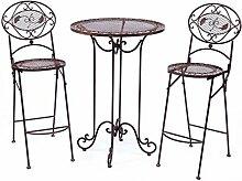 Stehtisch + 2 Barhocker Garnitur Tisch Garten Bar Antikstil garden funiture