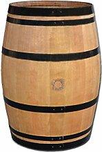 Stehtisch aus Weinfass, Dekofass, Gartentisch aus Holzfass - Fass geschliffen und lackiert mit schwarzen Ringen