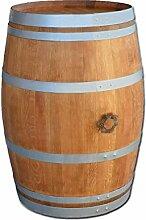 Stehtisch aus Weinfass, Dekofass, Gartentisch aus Holzfass - Fass geschliffen und geölt mit silbernen Ringen