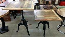 Stehtisch Bartisch Bistrotisch Tisch Höhenverstellbar Rund Ø 90 cm Massiv-Holz