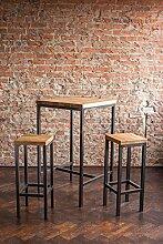Stehtisch Bartisch Tresen Bar IndustrieDesign Loft (ein Set: 66er Tisch +2 Hocker, Eiche natur)