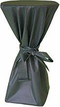 Stehtisch Husse - abwischbar - mit extra Schleifenband aus stoffähnlichem Vlies (GRÜN, 70-80 cm Tischdurchmesser), Öko-Tex 100 zertifiziert, ideal für jede Party, Catering, Vereinsfeier, Geburtstagsfeier, Even