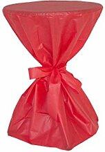 Stehtisch Husse - abwischbar - mit extra Schleifenband aus stoffähnlichem Vlies (ROT, 70-80 cm Tischdurchmesser), Öko-Tex 100 zertifiziert, ideal für jede Party, Catering, Vereinsfeier, Geburtstagsfeier, Even