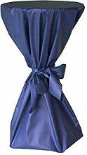 Stehtisch Husse - abwischbar - mit extra Schleifenband aus stoffähnlichem Vlies (BLAU, 70-80 cm Tischdurchmesser), Öko-Tex 100 zertifiziert, ideal für jede Party, Catering, Vereinsfeier, Geburtstagsfeier, Even