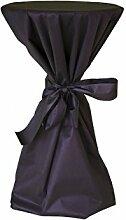 Stehtisch Husse - abwischbar - mit extra Schleifenband aus stoffähnlichem Vlies (SCHWARZ, 70-80 cm Tischdurchmesser), Öko-Tex 100 zertifiziert, ideal für jede Party, Catering, Vereinsfeier, Geburtstagsfeier, Even