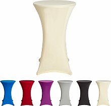 Stehtischhussen Tischhusse Tisch Husse Stehtisch Bistrotisch Hussen, verschiedene Farben und Größen, (70x120cm, Creme)