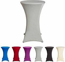 Stehtischhussen Tischhusse Tisch Husse Stehtisch Bistrotisch Hussen, verschiedene Farben und Größen, (70x120cm, Silber)