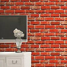 Stein Stein Tapete Chinesische rustikalen Vintage 3D-PVC Exfoliator geprägte Abwaschbare Tapete Wohnzimmer Hintergrund Wandbekleidung 10 M, rot, 5,3 qm.