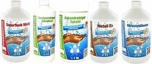Steinbach Poolchemie Starterset Wasserpflege 5 Sorten a. 1Liter / SuperFlock / Beckenreiniger alkalisch / Härtestabilisator / Gelrandreiniger Spezial / Metall-Ex